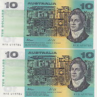R313 $10 Fraser/Cole Consecutive Pair UNC SAME SERIAL NO.MFR 419784-MFS 419784