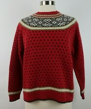 Talbots Womens Warm Wool Long Sleeve Crew Neck Red Fair Isle Nordic Sweater M