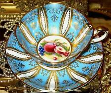 Paragon Peacock Blue Fancy Gold Leaf and Fruit Tea Cup and Saucer Wide Teacup