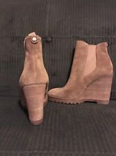 NEW Michael Kors Thea Suede Platform Wedge Ankle Brown Boots Booties sz 7 PW15F