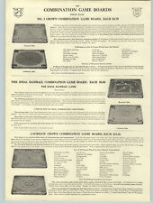 1916 PAPER AD The Ideal Baseball Combination Board Game Carrom Crown Archarena