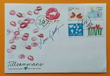 Sweden 2009 Scott 2603, 2604 a.-d Greeting hearts swans Fdc signed by Sjooblom