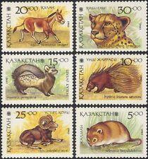 Kazakhstan 1993 Cheetah/Dormouse/Ass/Porcupine/Animals/Wildlife/Nature  6v b2221