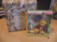 VINTAGE BOXED retired cherished teddies TEDDY BEAR school days shadow box wall