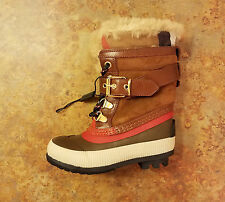 New! Burberry 'Windmere' Shearling Boots Brown Girls 9.5 US 26 Eur. MSRP $335