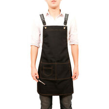 Men Women Work Aprons Canvas Denim Bib Aprons Pinafore For Chef Waiter Uniforms