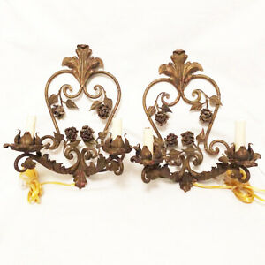 PAIR Large Antique Italian Gilt Wrought Iron Wall Sconces