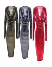 Cowl Neck Party Velvet Dresses for Women