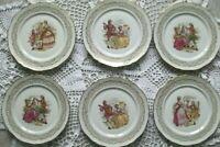 4 assiettes anciennes plates en Porcelaine Française,Fragonard,FRENCH OLD PLATES