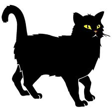 BLACK CAT WITH YELLOW EYES AND ORANGE NOSE CAR DECAL STICKER