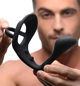 Excursion Silicone Triple Stim Anal Butt Plug with Cock and Ball Ring