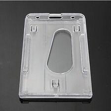 Clair vertical en plastique dur badge holder double card id 10x6cm transparent hot
