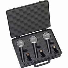 SAMSON R21 Dynamic Vocal Microphone 3-Pack Mics w/ Hard Padded Case & mic Clips