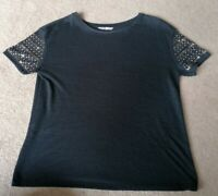 TU Black Knit Sequin Beaded Top Uk Size 12 Used