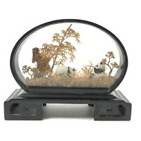 Vintage Handcarved Cork Diorama Sculpture with Pandas Framed with Glass Display