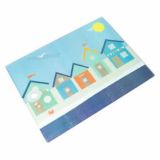 Nautical Seaside Coastal Beach Hut Glass Worktop Saver Protector Chopping Board
