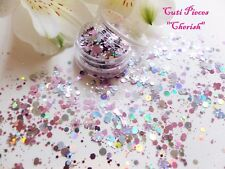 NAIL Art grosso * Cherish * NATALE ROSA ARGENTO FIOCCO DI NEVE Hex DOT Glitter Spangle Pot