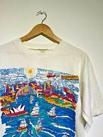 Artisan Vintage T Shirt White Graphic Happy Birthday Australia Painted UK M RARE