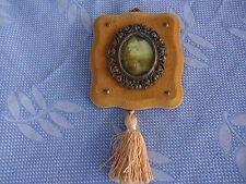 vintage oval silk picture frame velvet tassel italy 1960s