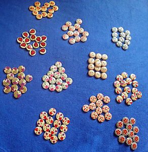NEW  10 WOODEN SEWING 2 HOLES BUTTONS DIFFERENT MULTICOLOURED  PATTERNS 15mm