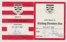 QUEENS PARK RANGERS V PORTSMOUTH 1987 ORIG DIRECTORS TICKETS SIGNED VERY GOOD
