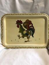 Vintage Metal Red Rooster Handpainted Sering Tray Lao