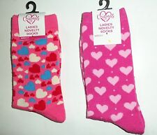 1 pair Ladies Ankle Socks size 4-7 with Hearts detail in Pink or Multi Coloured