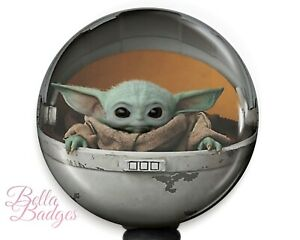 Baby Yoda Star Wars Badge Reel Mandalorian The Child ID Pull Clip Holder
