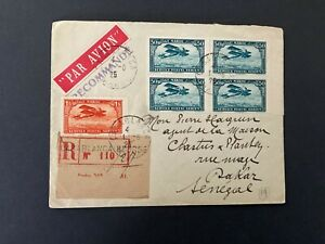 Postal History Morocco 1925 Registered Air Mail Cover to Dakar, Senegal