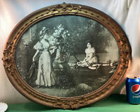 Vtg ORNATE 1920-30's Art Deco Gold WOMEN Boat Lake Ride Litho Picture Oval Frame
