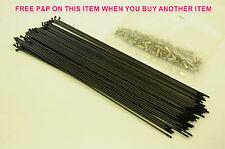 """80 x14 GAUGE BLACK SPOKES + NIPPLES MAY SUIT 26"""" (559) RIM WHEEL MOUNTAIN BIKE"""