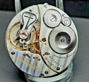 "Great16s 21 Jewel Elgin, ""478"" BW Raymond Pocket Watch Movement 21j"