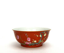 Superb Chinese Finely Painted Iron Red Glaze Famille Rose Floral Porcelain Bowl