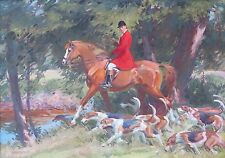 Robert Lougheed c.1940 equestrian fox hunt hounds oil painting horse Westport CT