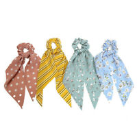 Fashion Dot Stripe Floral Print Scrunchie Bow Streamers Hair Ties Ponytail Rope