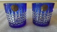 2 COBALT BLUE AND CLEAR CANDLE HOLDERS DEPLOMB GARANTI DE FRANCE CRISTAL
