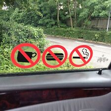 NO SMOKING/EATING/DRINKING STICKERS/SIGNS VIEW BOTH SIDES ON GLASS STICKER