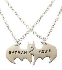 "Batman and Robin BFF 2 Piece Bat Shield Metal Necklace 18"" Chain"