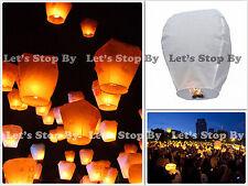 5x White Kongming Wishing Sky Flying Lantern Chinese Paper Candle Wedding Party