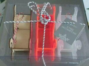 BNIB Paperchase 3 x Santa Sleigh Christmas Decorations