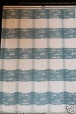 Max Studio Distressed Cabana Stripe Blue Fabric Shower Curtain 72x72 new