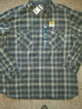MENS CARHARTT RUGGED FLEX BOZEMAN SHADOW PLAID SNAP GRAY SHIRT 103319 SIZE 3XL T
