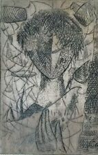 Cuban Art. Chalcography by Miguel Cubiles. Niño, ca 1964. Chalcography on paper.