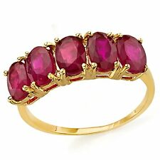 AFRICAN RUBY RING 3.40 CWT 10 K YELLOW GOLD STAMPED TRILOGY STYLE JULY BIRTH