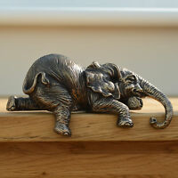 Bronze Elephant Shelf Sitter Ornament Sculpture Figurine Decorative L12cm 31049