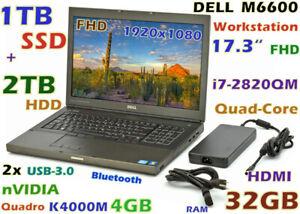 """Workstation DELL M6600 i7-Quad (1TB SSD + 2TB) 32GB 17.3"""" FHD QUADRO K3100M-4GB"""