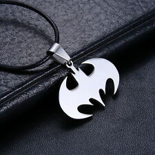 Unisex Chain Silver Stainless Steel Bat Batman Pendant Necklace Choker Gift