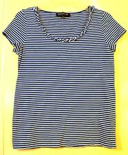 Lovely Jones New York Blue & White Stripe Cap Sleeve Knit Top Size M EUC