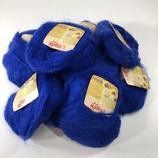 Vtg Katia Angoretta Knitting Yarn Faux Angora Acrylic Royal Blue 7115 Bag of 10