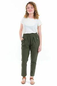 Pantalon carotte femme taille elastique kaki - Neuf - S au XXXL